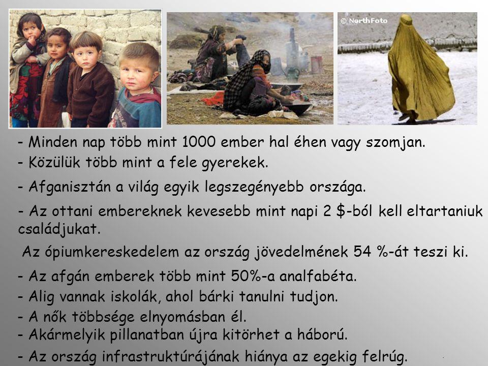 - Akármelyik pillanatban újra kitörhet a háború. - Minden nap több mint 1000 ember hal éhen vagy szomjan. - Közülük több mint a fele gyerekek. - Afgan