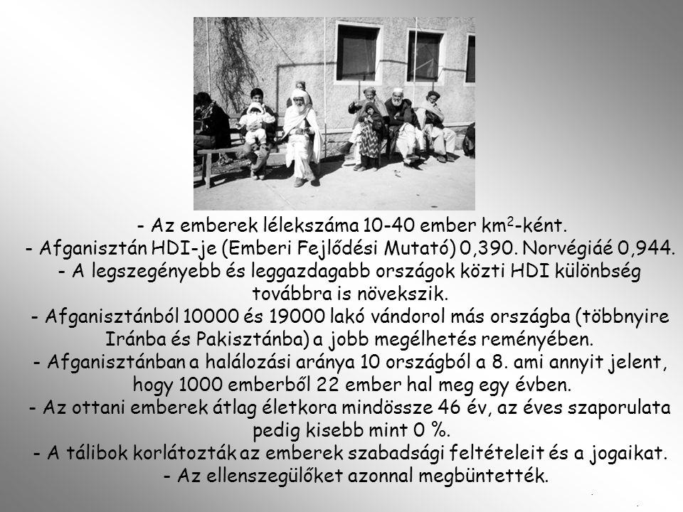 - Az emberek lélekszáma 10-40 ember km 2 -ként. - Afganisztán HDI-je (Emberi Fejlődési Mutató) 0,390. Norvégiáé 0,944. - A legszegényebb és leggazdaga
