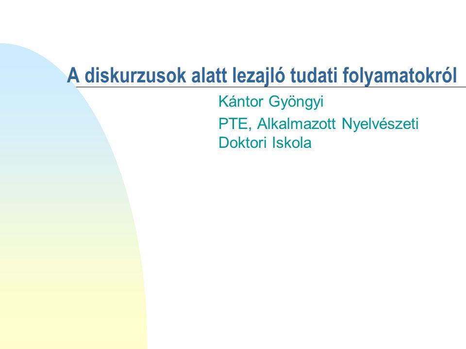 A diskurzusok alatt lezajló tudati folyamatokról Kántor Gyöngyi PTE, Alkalmazott Nyelvészeti Doktori Iskola