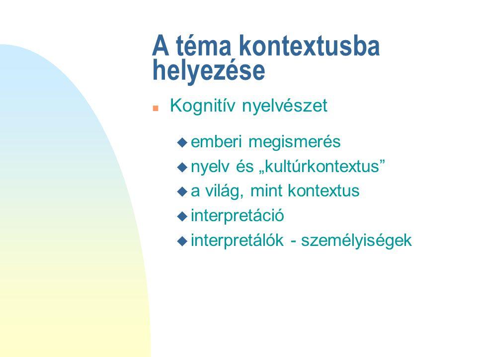 """A téma kontextusba helyezése u emberi megismerés u nyelv és """"kultúrkontextus u a világ, mint kontextus u interpretáció u interpretálók - személyiségek n Kognitív nyelvészet"""