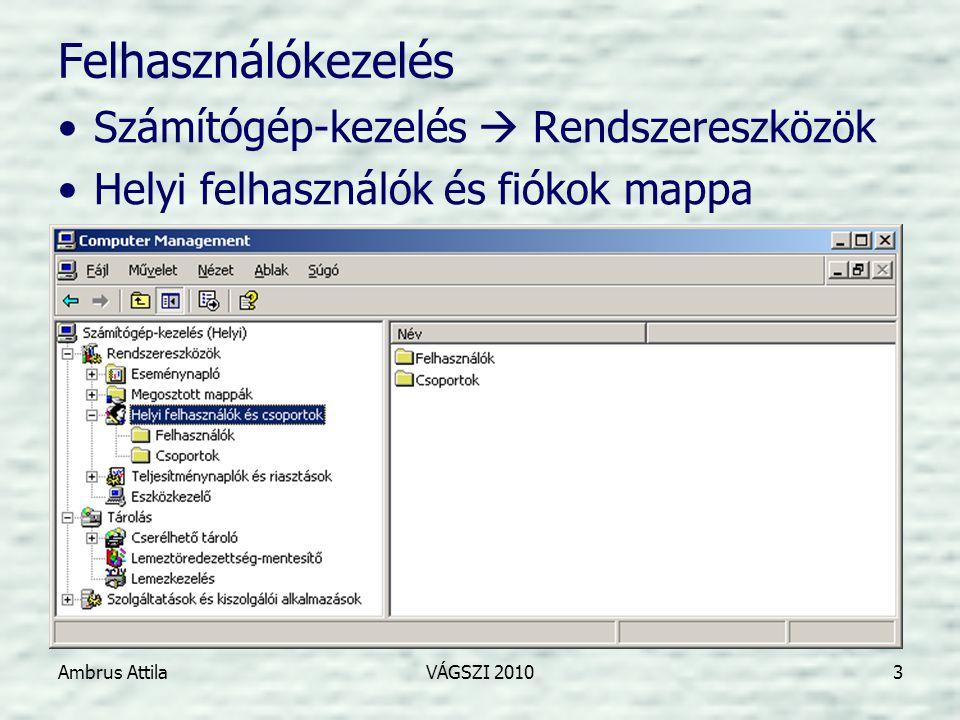Ambrus AttilaVÁGSZI 20104 Felhasználók adatai •Általános –Teljes név, Leírás –A köv.