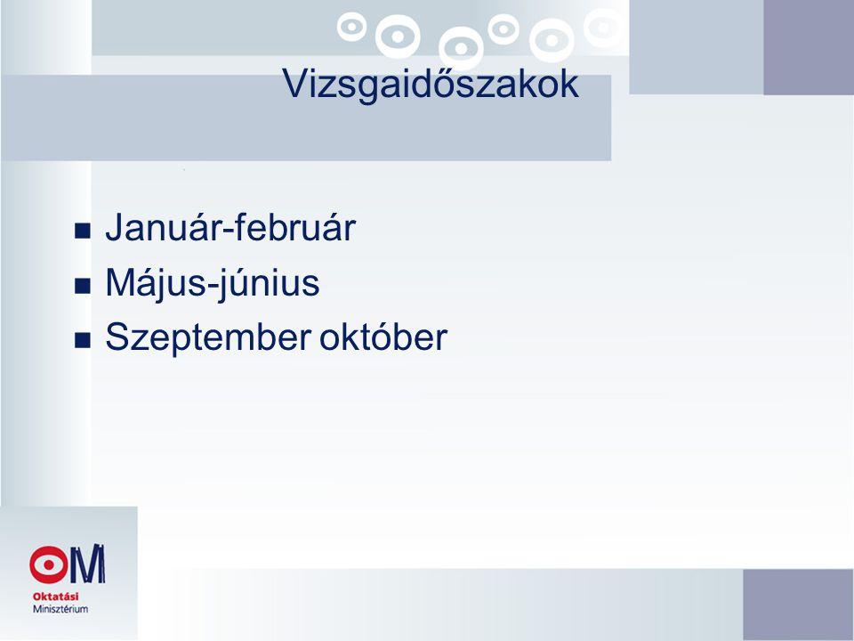 Vizsgaidőszakok n Január-február n Május-június n Szeptember október