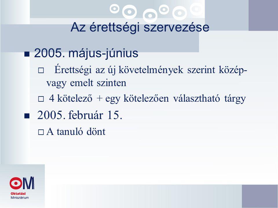Az érettségi szervezése  2005. május-június  Érettségi az új követelmények szerint közép- vagy emelt szinten  4 kötelező + egy kötelezően választha