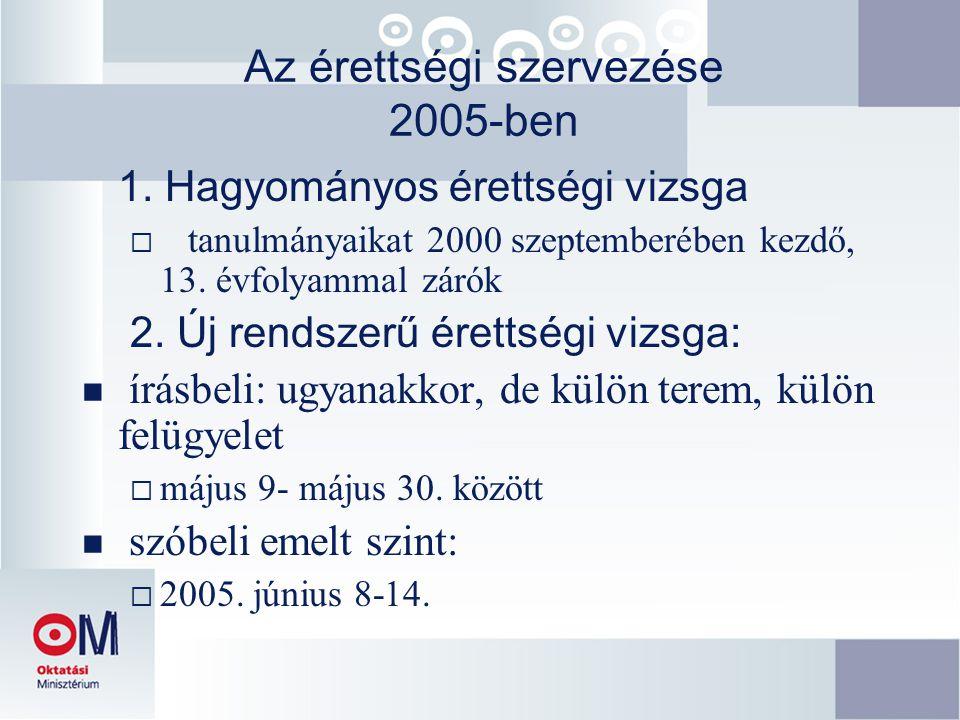 Az érettségi szervezése 2005-ben 1. Hagyományos érettségi vizsga  tanulmányaikat 2000 szeptemberében kezdő, 13. évfolyammal zárók 2. Új rendszerű ére