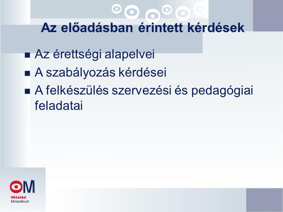 Az előadásban érintett kérdések n Az érettségi alapelvei n A szabályozás kérdései n A felkészülés szervezési és pedagógiai feladatai