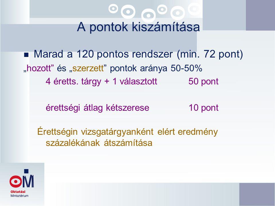 """A pontok kiszámítása n Marad a 120 pontos rendszer (min. 72 pont) """"hozott"""" és """"szerzett"""" pontok aránya 50-50% 4 éretts. tárgy + 1 választott 50 pont é"""