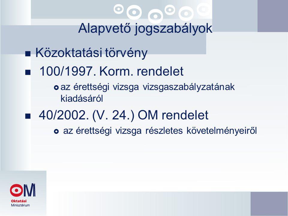 Alapvető jogszabályok n Közoktatási törvény n 100/1997. Korm. rendelet  az érettségi vizsga vizsgaszabályzatának kiadásáról  40/2002. (V. 24.) OM re