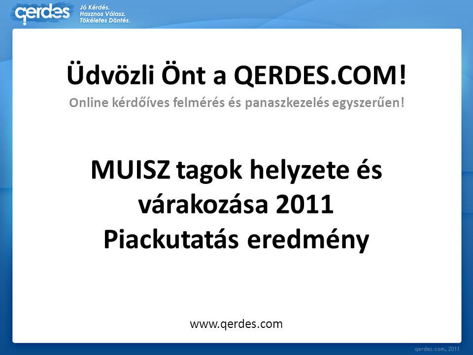 MUISZ tagok helyzete és várakozása 2011 Piackutatás eredmény Online kérdőíves felmérés és panaszkezelés egyszerűen! www.qerdes.com Üdvözli Önt a QERDE