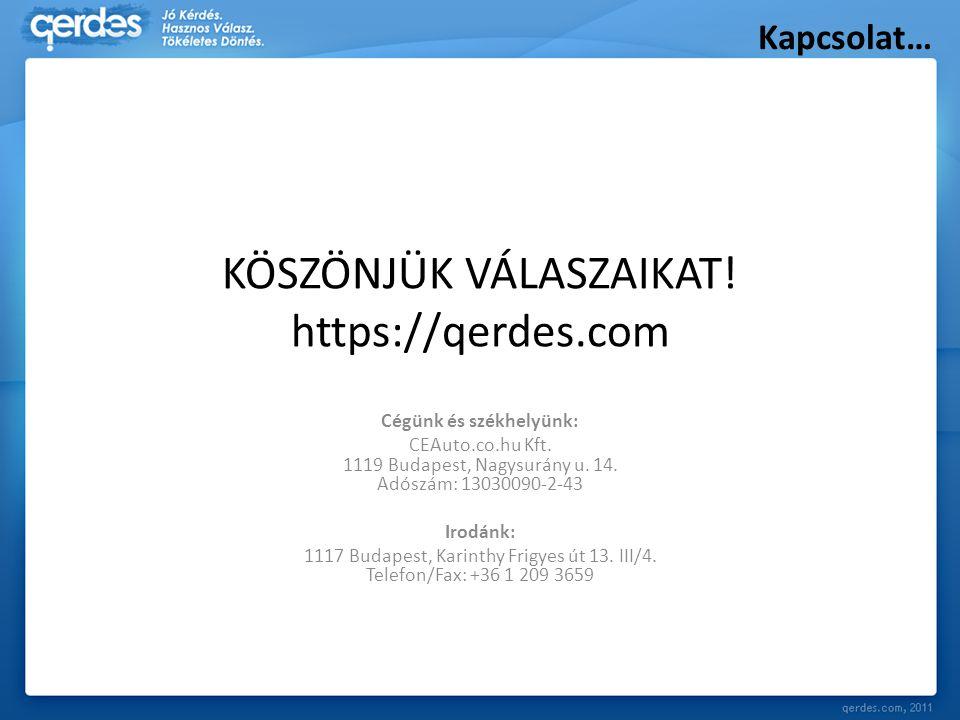 KÖSZÖNJÜK VÁLASZAIKAT! https://qerdes.com Cégünk és székhelyünk: CEAuto.co.hu Kft. 1119 Budapest, Nagysurány u. 14. Adószám: 13030090-2-43 Irodánk: 11