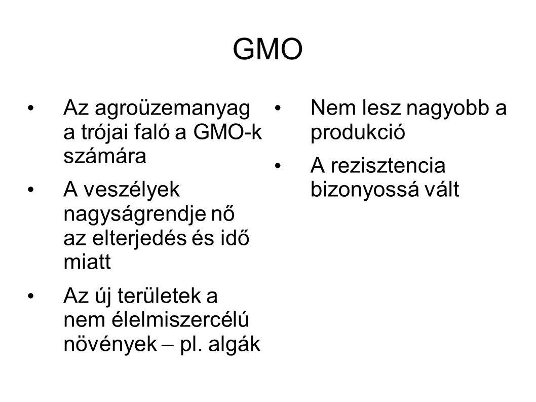GMO • Az agroüzemanyag a trójai faló a GMO-k számára • A veszélyek nagyságrendje nő az elterjedés és idő miatt • Az új területek a nem élelmiszercélú
