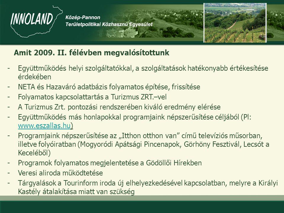 - A GKRTE és a Gödöllői Kistérség Tourinform Iroda kitelepülése a 2009.