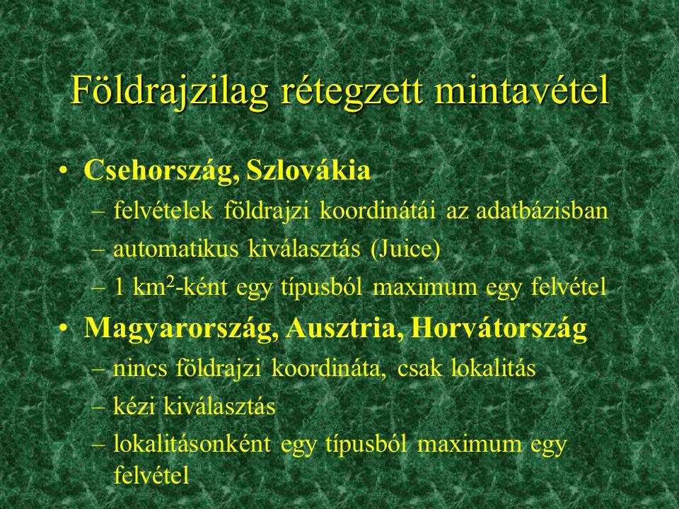 Földrajzilag rétegzett mintavétel •Csehország, Szlovákia –felvételek földrajzi koordinátái az adatbázisban –automatikus kiválasztás (Juice) –1 km 2 -k