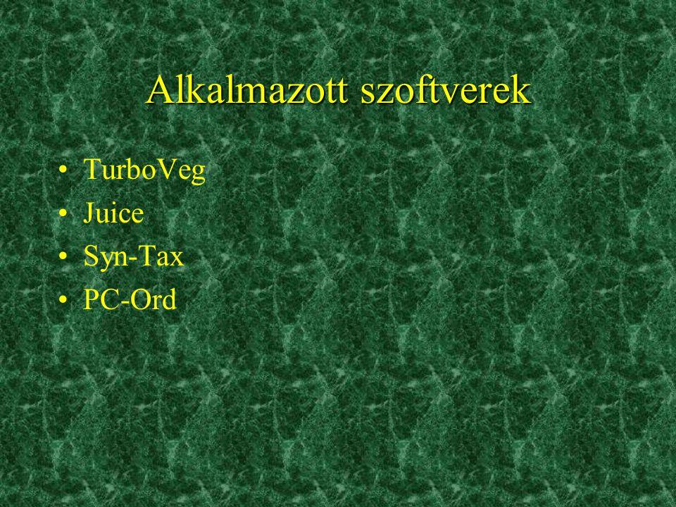 Alkalmazott szoftverek •TurboVeg •Juice •Syn-Tax •PC-Ord