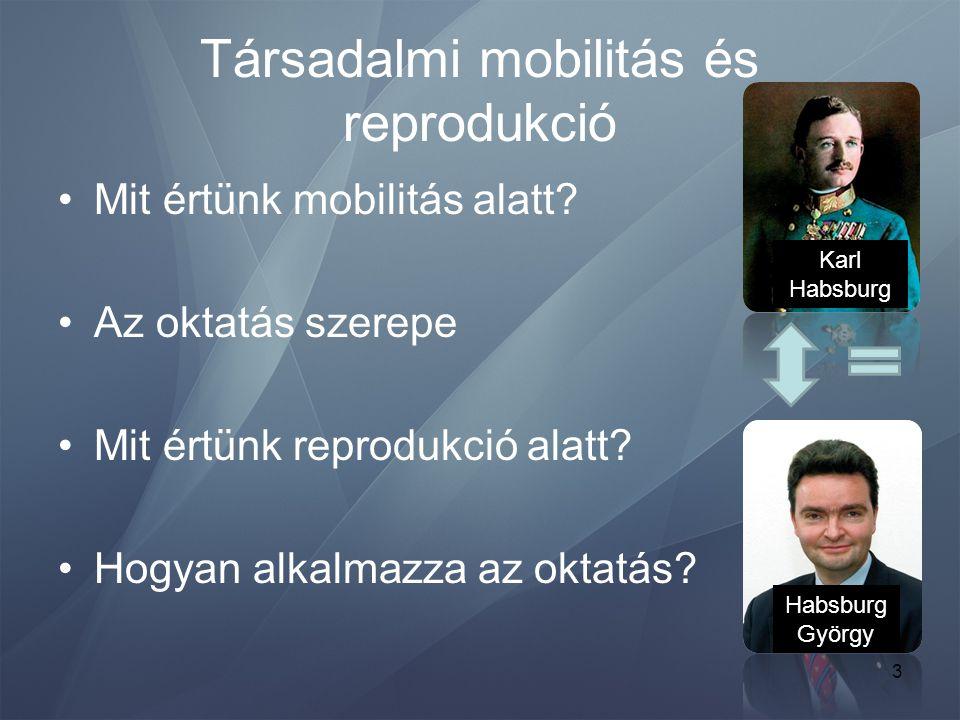 3 Társadalmi mobilitás és reprodukció •Mit értünk mobilitás alatt? •Az oktatás szerepe •Mit értünk reprodukció alatt? •Hogyan alkalmazza az oktatás? K