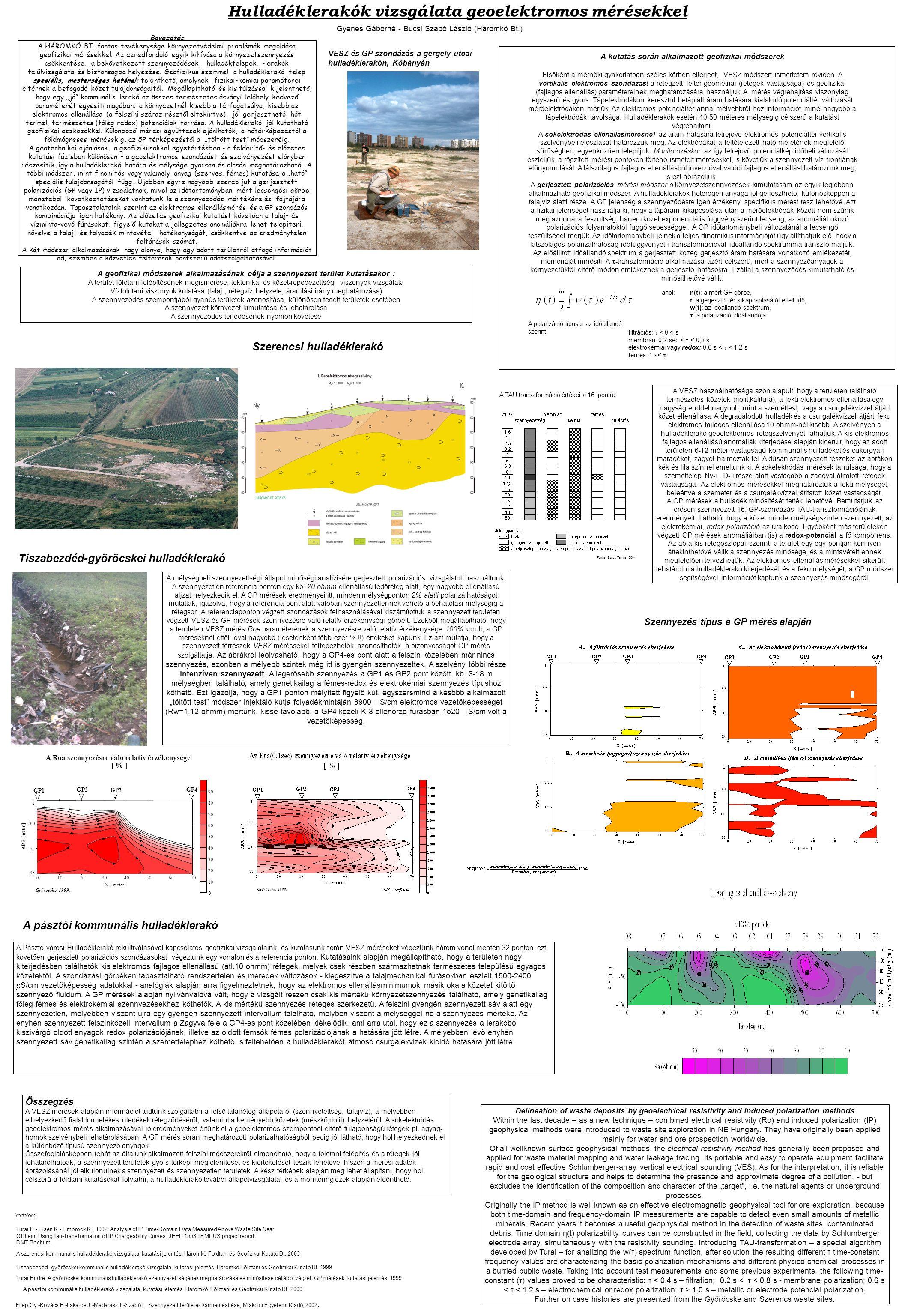 Hulladéklerakók vizsgálata geoelektromos mérésekkel Bevezetés A HÁROMKŐ BT. fontos tevékenysége környezetvédelmi problémák megoldása geofizikai mérése