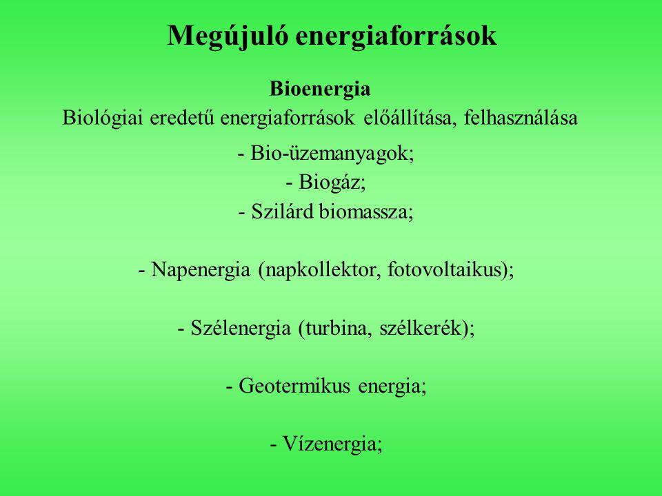 Megújuló energiaforrások Bioenergia Biológiai eredetű energiaforrások előállítása, felhasználása - Bio-üzemanyagok; - Biogáz; - Szilárd biomassza; - Napenergia (napkollektor, fotovoltaikus); - Szélenergia (turbina, szélkerék); - Geotermikus energia; - Vízenergia;