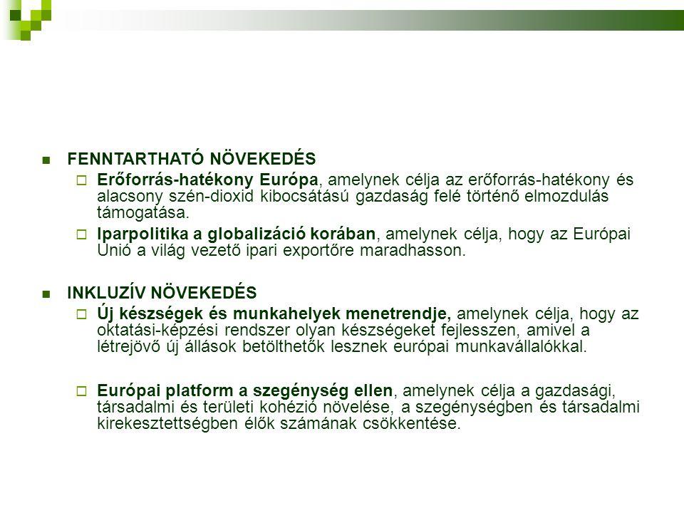  FENNTARTHATÓ NÖVEKEDÉS  Erőforrás-hatékony Európa, amelynek célja az erőforrás-hatékony és alacsony szén-dioxid kibocsátású gazdaság felé történő elmozdulás támogatása.