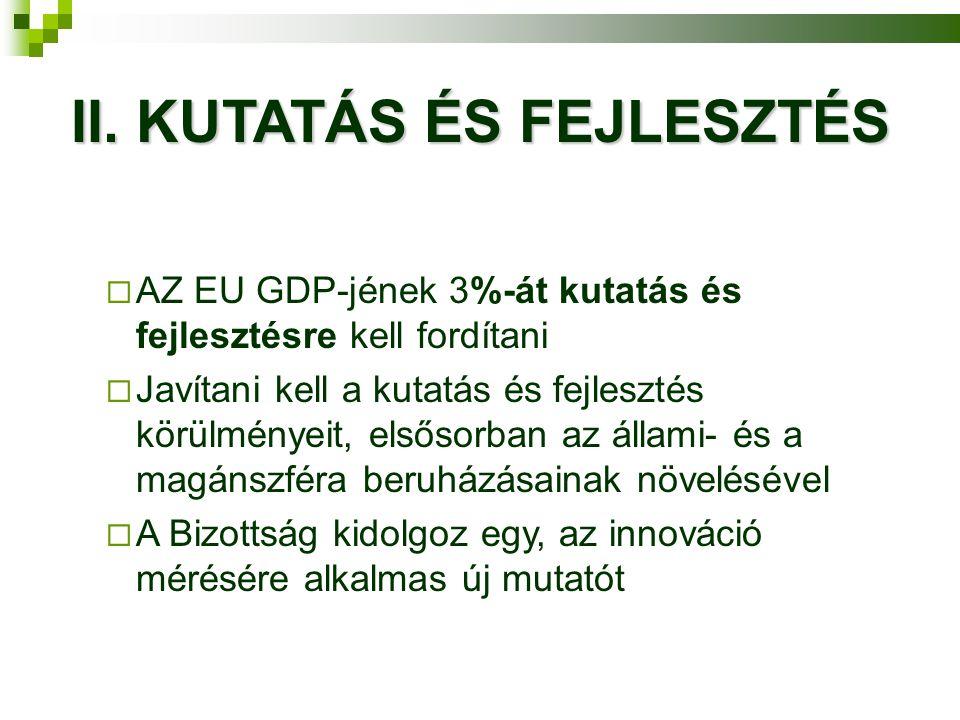 II. KUTATÁS ÉS FEJLESZTÉS  AZ EU GDP-jének 3%-át kutatás és fejlesztésre kell fordítani  Javítani kell a kutatás és fejlesztés körülményeit, elsősor