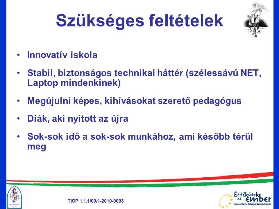 TIOP 1.1.1/09/1-2010-0003 Szükséges feltételek •Innovatív iskola •Stabil, biztonságos technikai háttér (szélessávú NET, Laptop mindenkinek) •Megújulni képes, kihívásokat szerető pedagógus •Diák, aki nyitott az újra •Sok-sok idő a sok-sok munkához, ami később térül meg TIOP 1.1.1/09/1-2010-0003