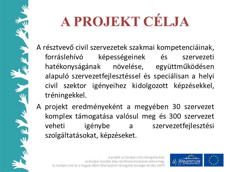 Készségek,képességek fejlesztésének igénye jelentkezett az alábbi területeken • Forrásteremtés • Pályázatírás • Projekt ciklus menedzsment • Nyelvismeret • Állam működésével kapcsolatos ismeretek A projekt az Európai Unió támogatásával, az Európai Szociális Alap társfinanszírozásával valósul meg.