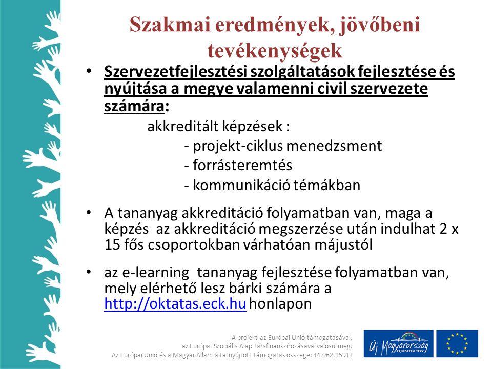 • Szervezetfejlesztési szolgáltatások fejlesztése és nyújtása a megye valamenni civil szervezete számára: akkreditált képzések : - projekt-ciklus mene