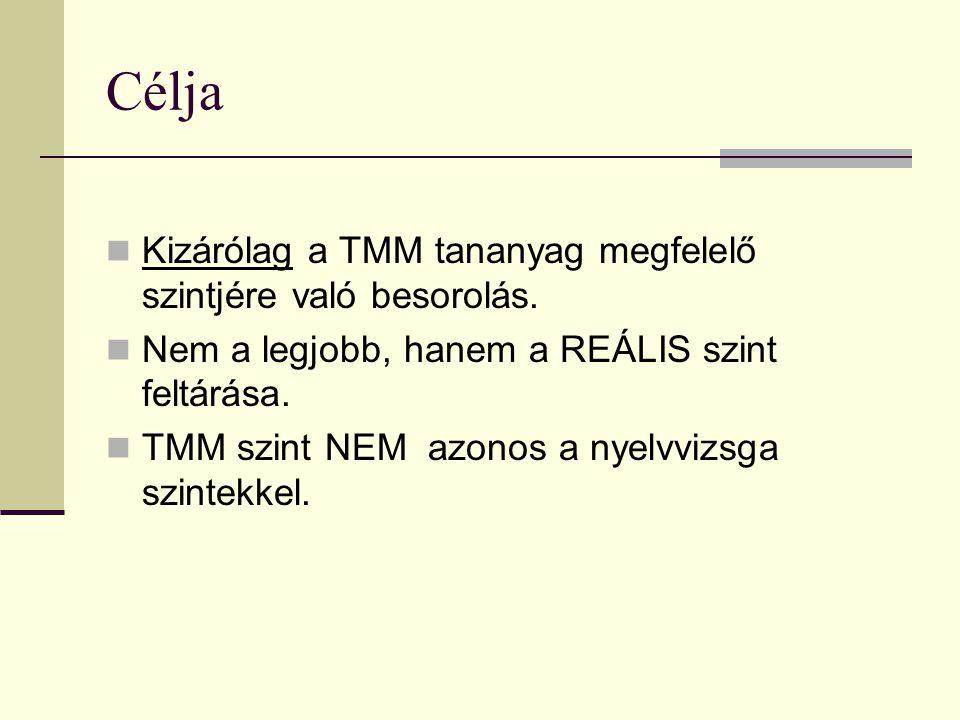 Célja  Kizárólag a TMM tananyag megfelelő szintjére való besorolás.  Nem a legjobb, hanem a REÁLIS szint feltárása.  TMM szint NEM azonos a nyelvvi