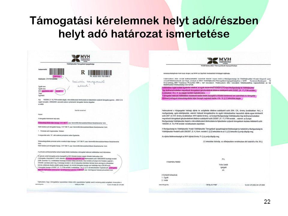 Támogatási kérelemnek helyt adó/részben helyt adó határozat ismertetése 22