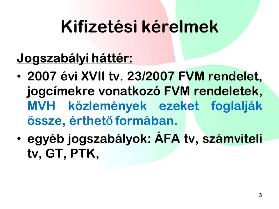Kifizetési kérelmek Jogszabályi háttér: • 2007 évi XVII tv. 23/2007 FVM rendelet, jogcímekre vonatkozó FVM rendeletek, MVH közlemények ezeket foglaljá