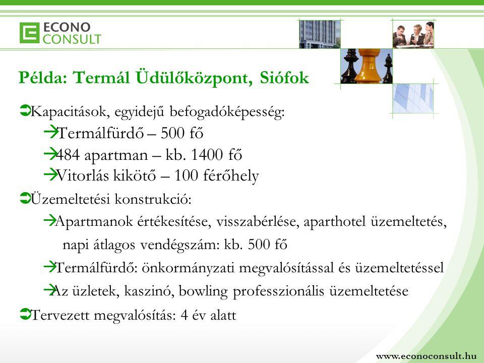  Kapacitások, egyidejű befogadóképesség:  Termálfürdő – 500 fő  484 apartman – kb.