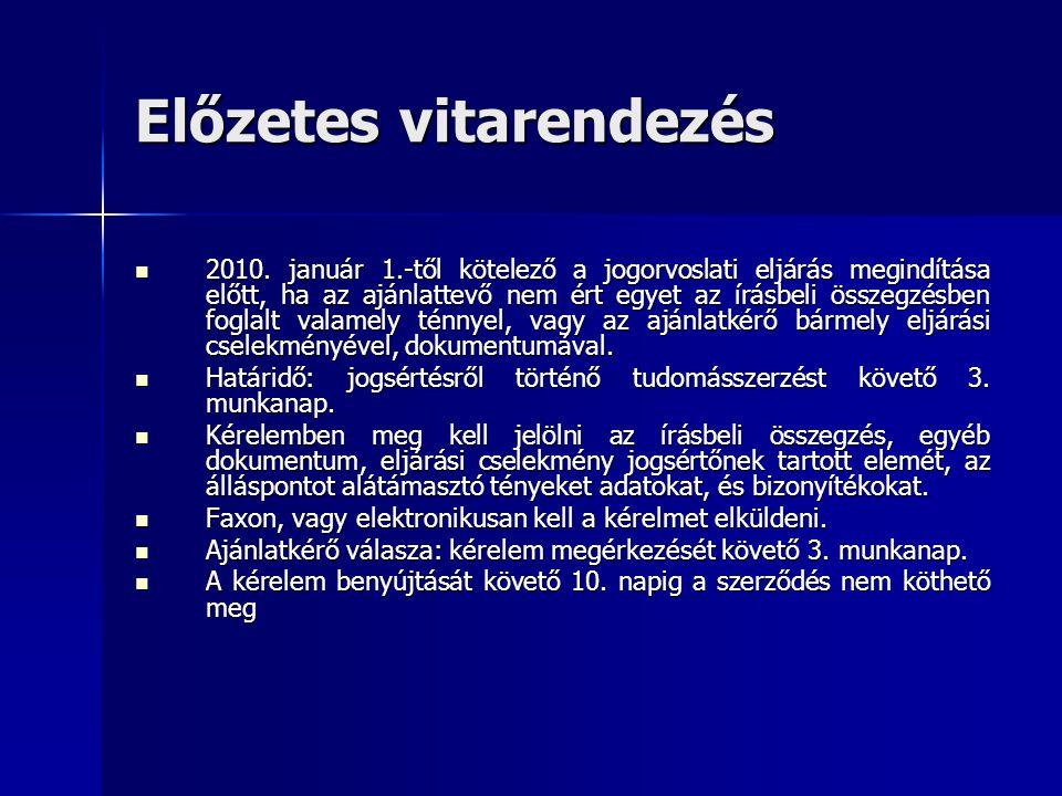 Előzetes vitarendezés  2010.
