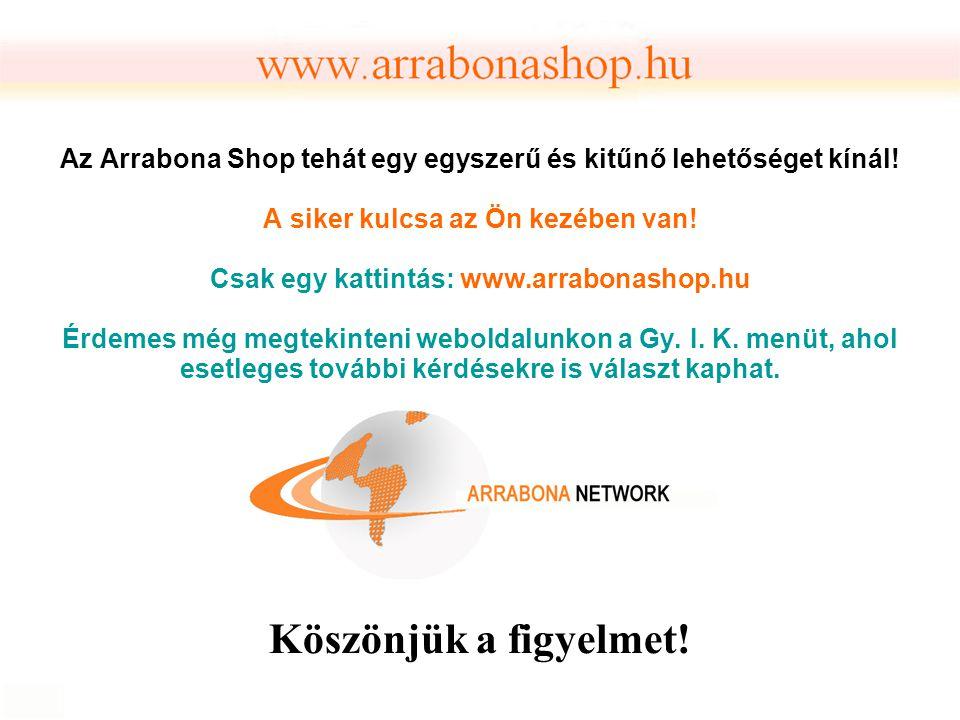 Az Arrabona Shop tehát egy egyszerű és kitűnő lehetőséget kínál! A siker kulcsa az Ön kezében van! Csak egy kattintás: www.arrabonashop.hu Érdemes még