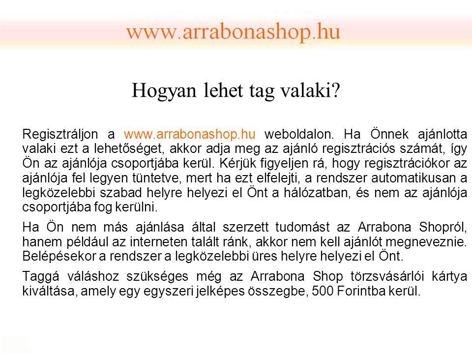 Hogyan lehet tag valaki? Regisztráljon a www.arrabonashop.hu weboldalon. Ha Önnek ajánlotta valaki ezt a lehetőséget, akkor adja meg az ajánló regiszt