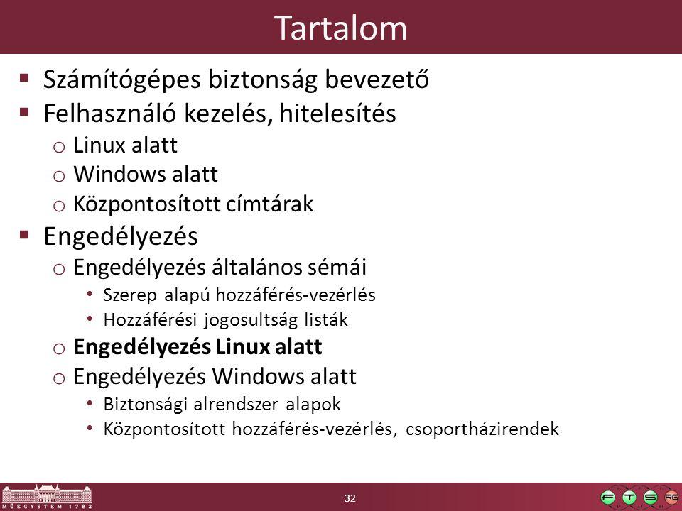 Tartalom  Számítógépes biztonság bevezető  Felhasználó kezelés, hitelesítés o Linux alatt o Windows alatt o Központosított címtárak  Engedélyezés o