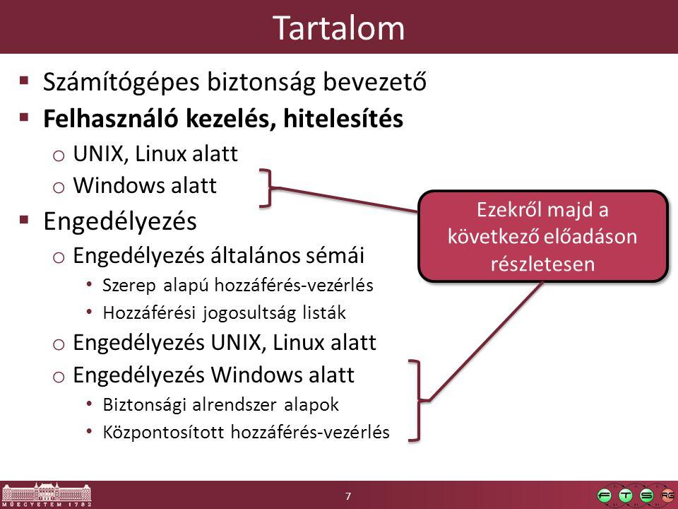 Tartalom  Számítógépes biztonság bevezető  Felhasználó kezelés, hitelesítés o UNIX, Linux alatt o Windows alatt  Engedélyezés o Engedélyezés általá