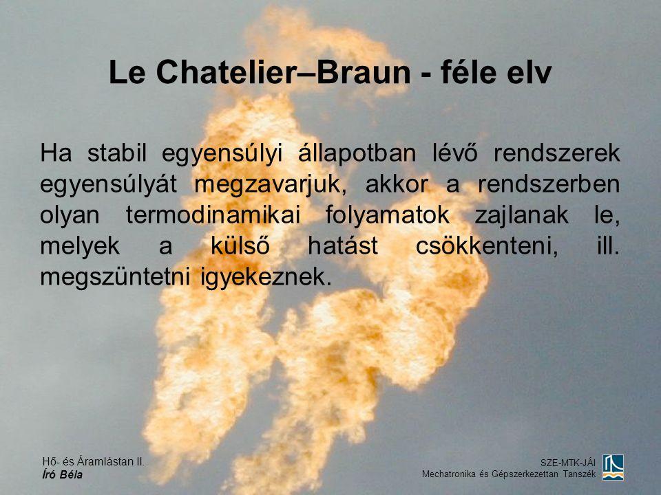 Hő- és Áramlástan II. Író Béla SZE-MTK-JÁI Mechatronika és Gépszerkezettan Tanszék Le Chatelier–Braun - féle elv Ha stabil egyensúlyi állapotban lévő