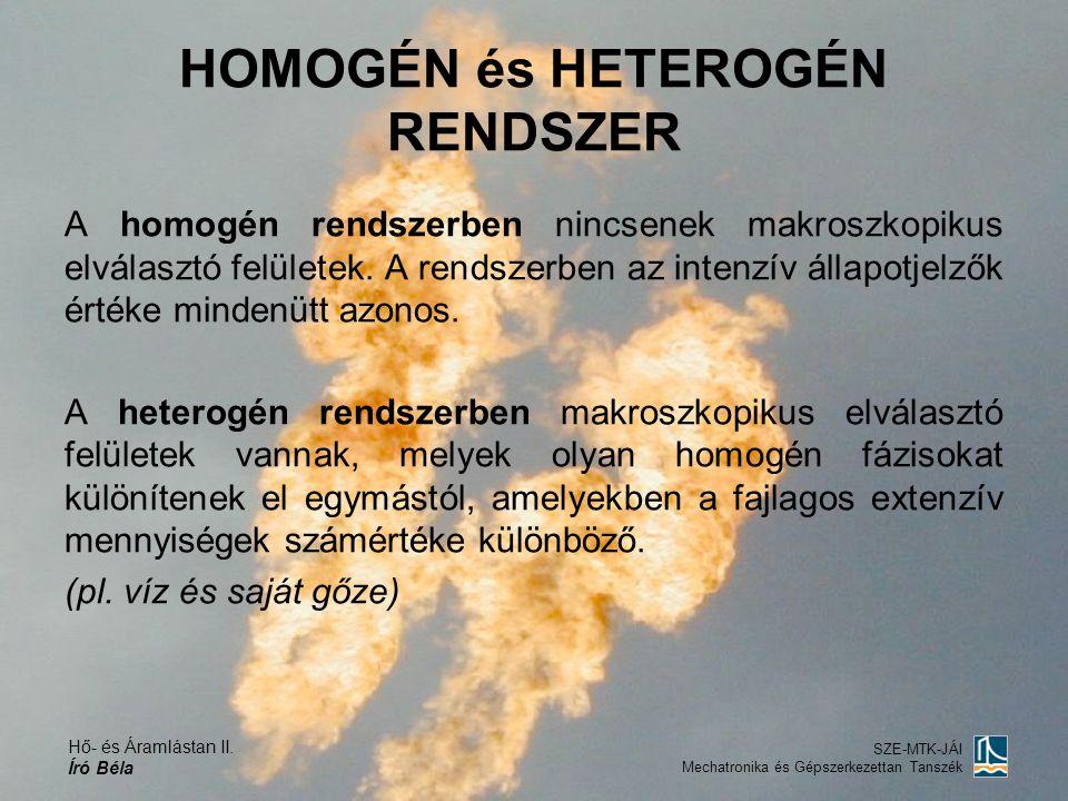 Hő- és Áramlástan II. Író Béla SZE-MTK-JÁI Mechatronika és Gépszerkezettan Tanszék HOMOGÉN és HETEROGÉN RENDSZER A homogén rendszerben nincsenek makro