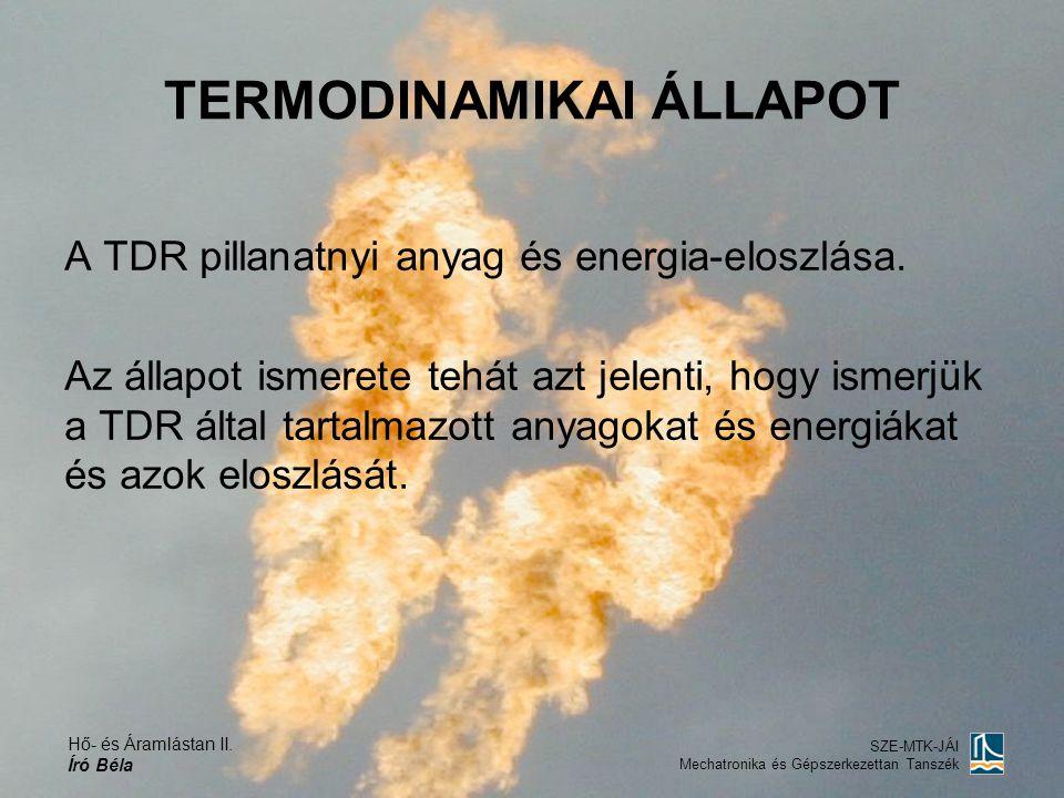 Hő- és Áramlástan II. Író Béla SZE-MTK-JÁI Mechatronika és Gépszerkezettan Tanszék TERMODINAMIKAI ÁLLAPOT A TDR pillanatnyi anyag és energia-eloszlása