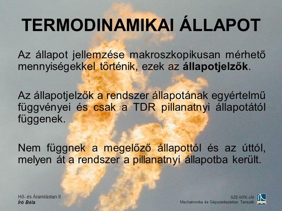 Hő- és Áramlástan II. Író Béla SZE-MTK-JÁI Mechatronika és Gépszerkezettan Tanszék Az állapot jellemzése makroszkopikusan mérhető mennyiségekkel törté