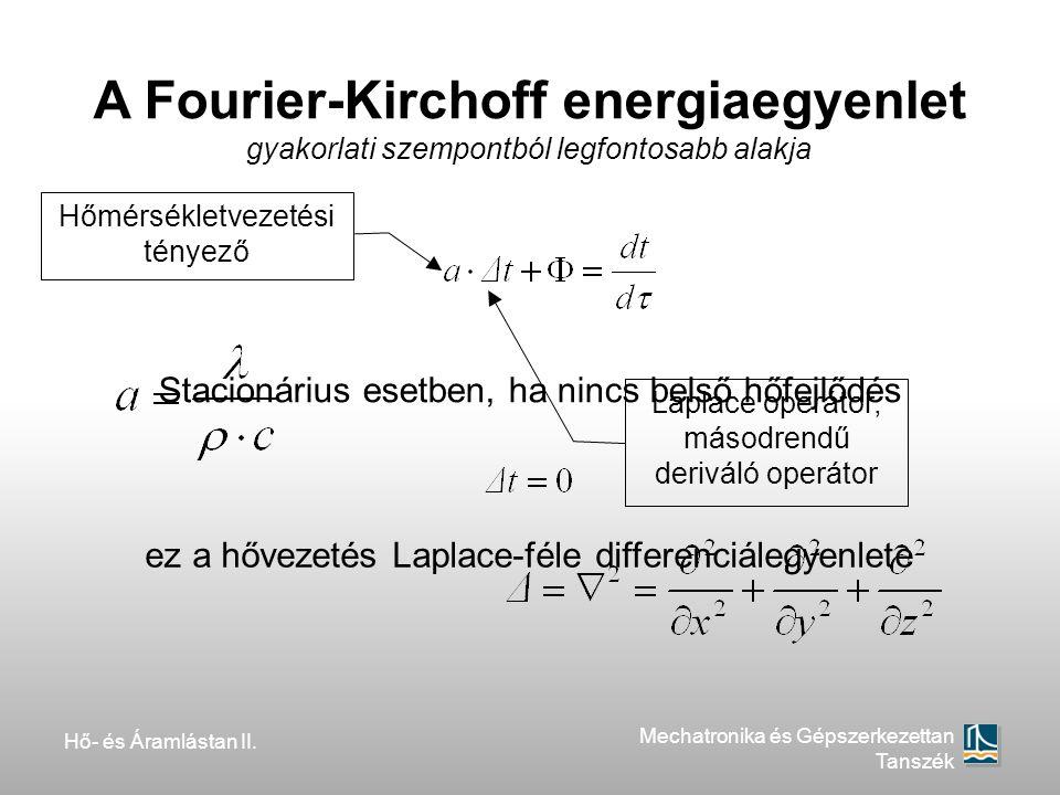 Hő- és Áramlástan II. Mechatronika és Gépszerkezettan Tanszék A Fourier-Kirchoff energiaegyenlet gyakorlati szempontból legfontosabb alakja Stacionári