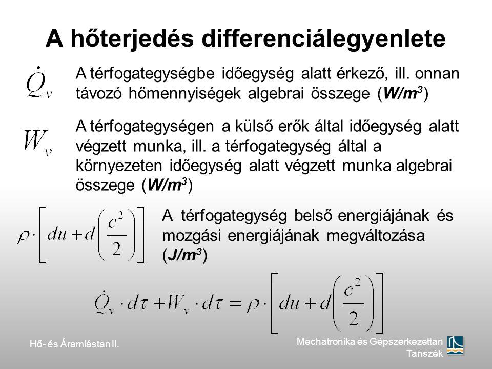 Hő- és Áramlástan II. Mechatronika és Gépszerkezettan Tanszék A hőterjedés differenciálegyenlete A térfogategységbe időegység alatt érkező, ill. onnan