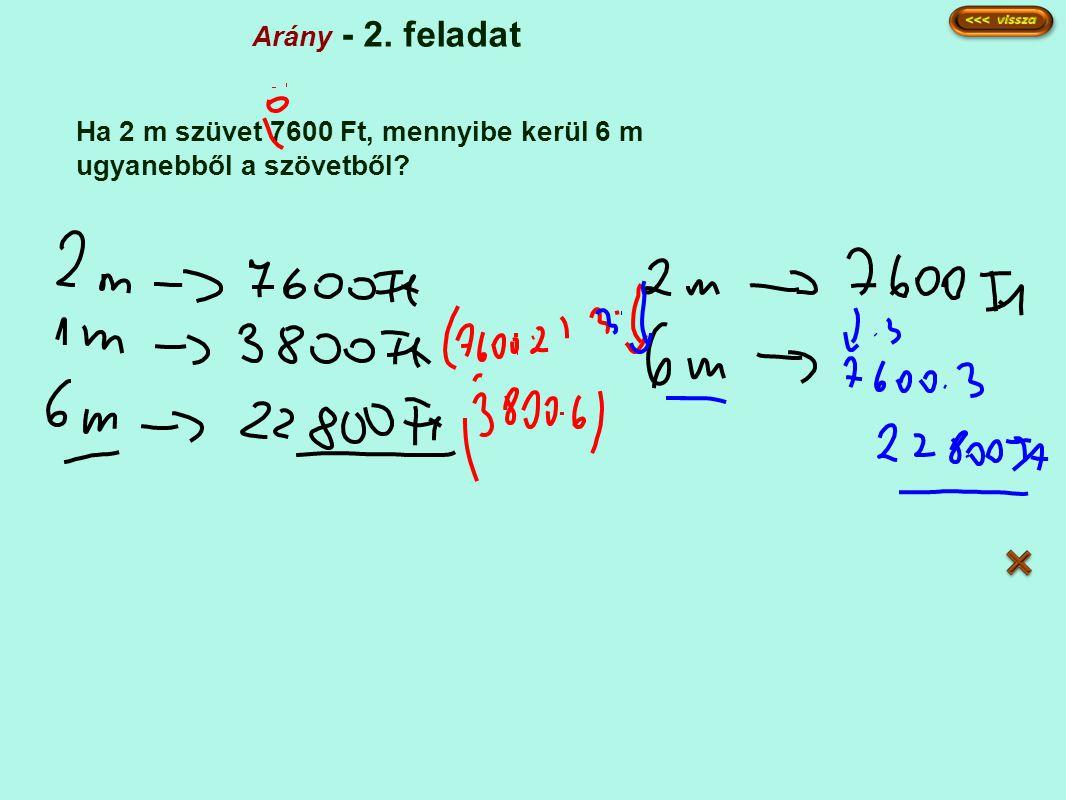 Arány - 2. feladat Ha 2 m szüvet 7600 Ft, mennyibe kerül 6 m ugyanebből a szövetből?
