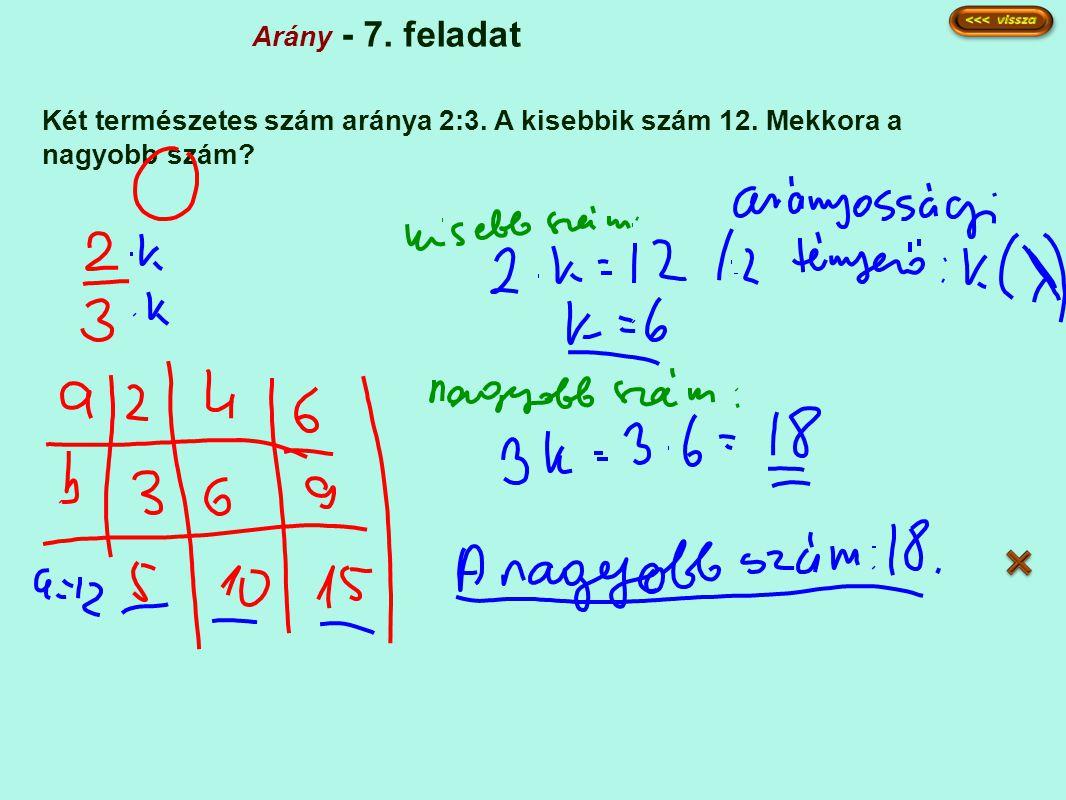 Arány - 7. feladat Két természetes szám aránya 2:3. A kisebbik szám 12. Mekkora a nagyobb szám?