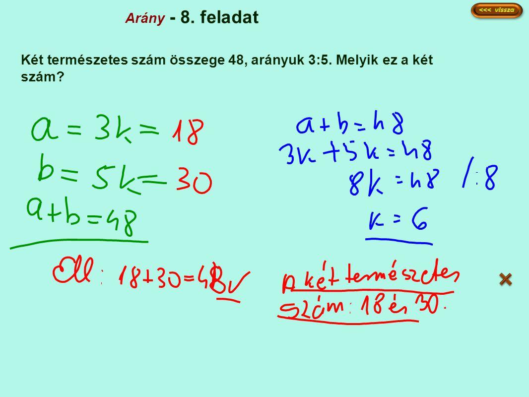 Arány - 8. feladat Két természetes szám összege 48, arányuk 3:5. Melyik ez a két szám?