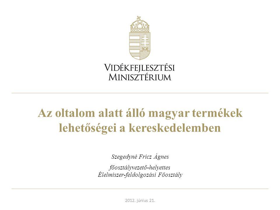 Az oltalom alatt álló magyar termékek lehetőségei a kereskedelemben Szegedyné Fricz Ágnes főosztályvezető-helyettes Élelmiszer-feldolgozási Főosztály