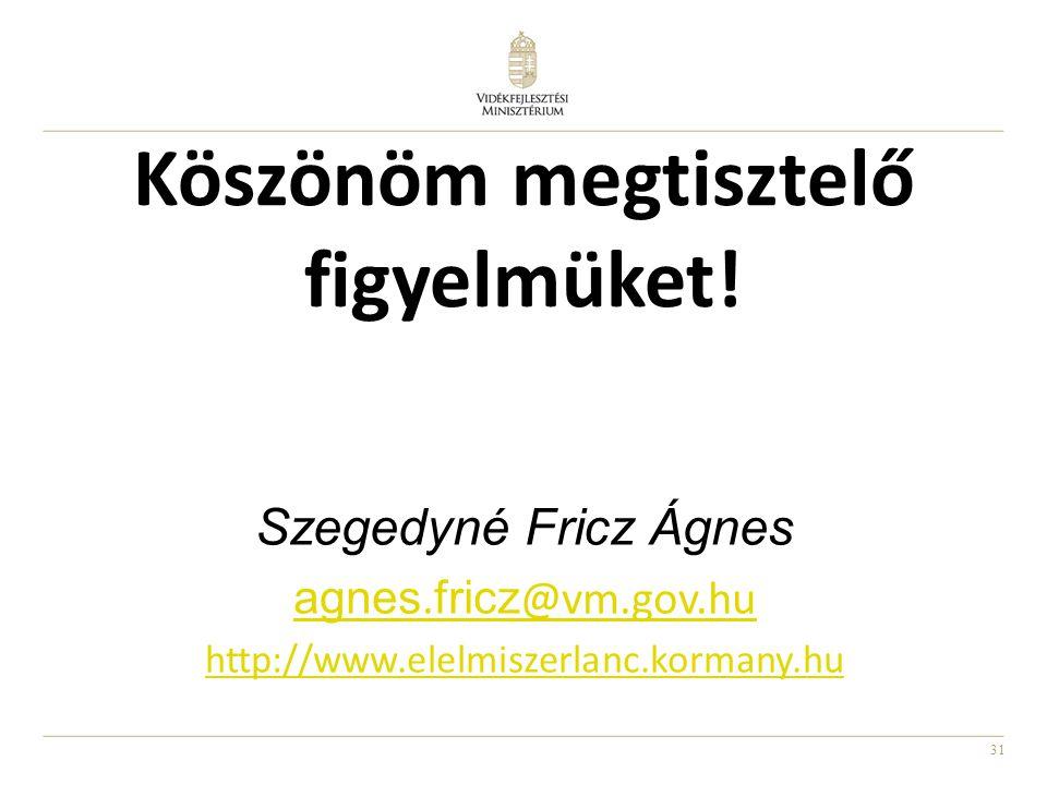 31 Köszönöm megtisztelő figyelmüket! Szegedyné Fricz Ágnes agnes. fricz @vm.gov.hu http://www.elelmiszerlanc.kormany.hu