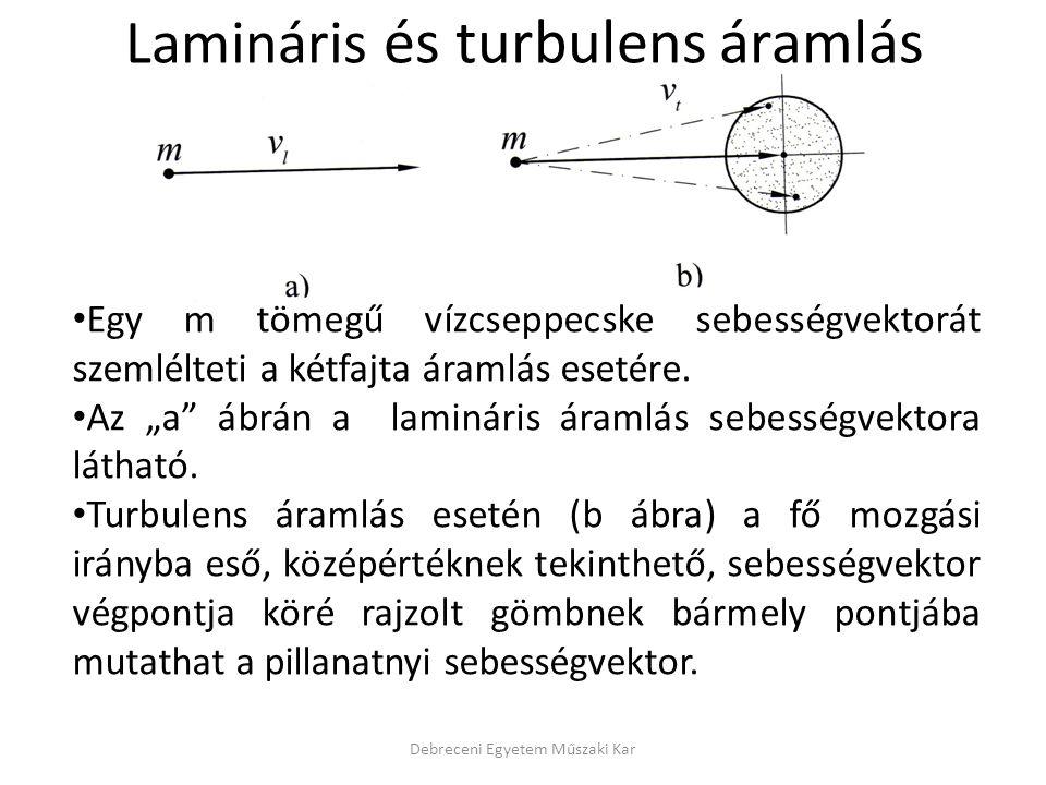 """Lamináris és turbulens áramlás • Egy m tömegű vízcseppecske sebességvektorát szemlélteti a kétfajta áramlás esetére. • Az """"a"""" ábrán a lamináris áramlá"""