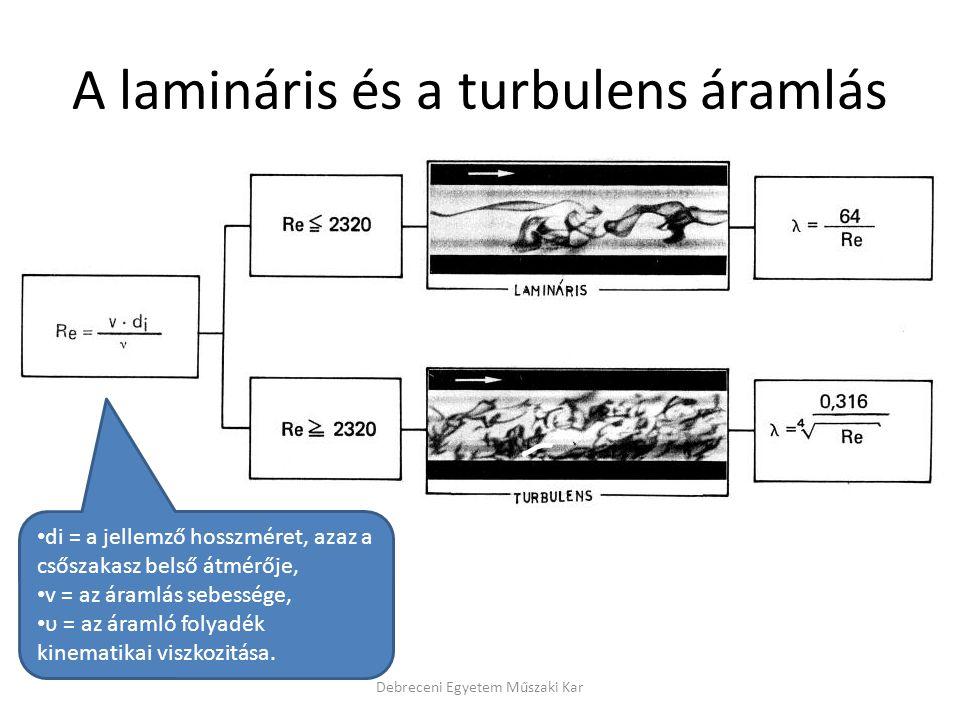 A lamináris és a turbulens áramlás Debreceni Egyetem Műszaki Kar • di = a jellemző hosszméret, azaz a csőszakasz belső átmérője, • v = az áramlás sebe