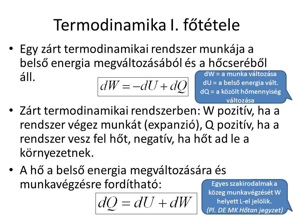 Termodinamika I. főtétele • Egy zárt termodinamikai rendszer munkája a belső energia megváltozásából és a hőcseréből áll. • Zárt termodinamikai rendsz