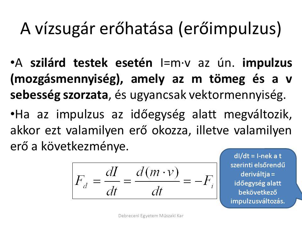 A vízsugár erőhatása (erőimpulzus) • A szilárd testek esetén I=m·v az ún. impulzus (mozgásmennyiség), amely az m tömeg és a v sebesség szorzata, és ug