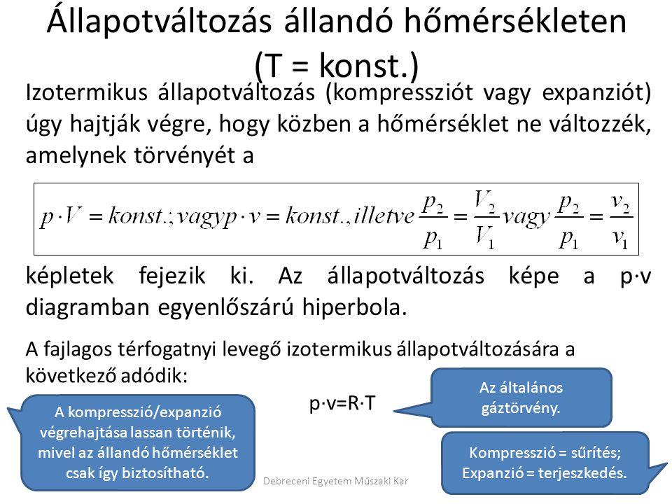 Izotermikus állapotváltozás (kompressziót vagy expanziót) úgy hajtják végre, hogy közben a hőmérséklet ne változzék, amelynek törvényét a képletek fej